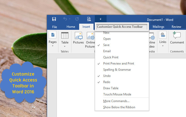 Customize Quick Access Toolbar in Word 2016