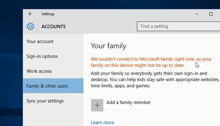 We Couldn't Connect to Microsoft Family