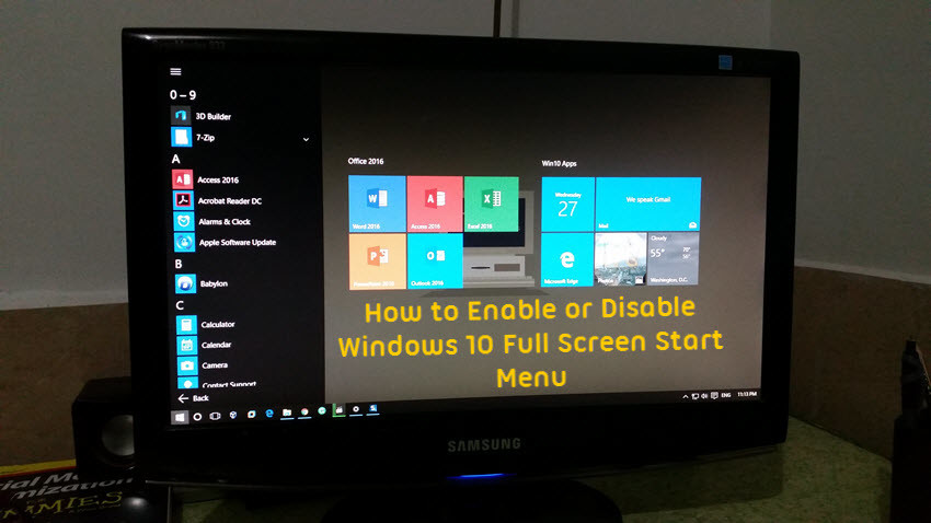 How to Enable or Disable Windows 10 Full Screen Start Menu