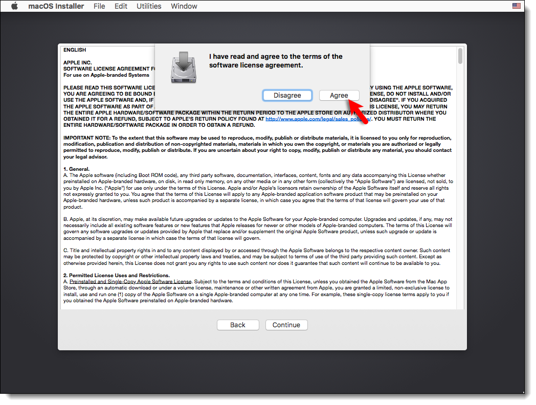 Agree to the macOS Sierra License agreement