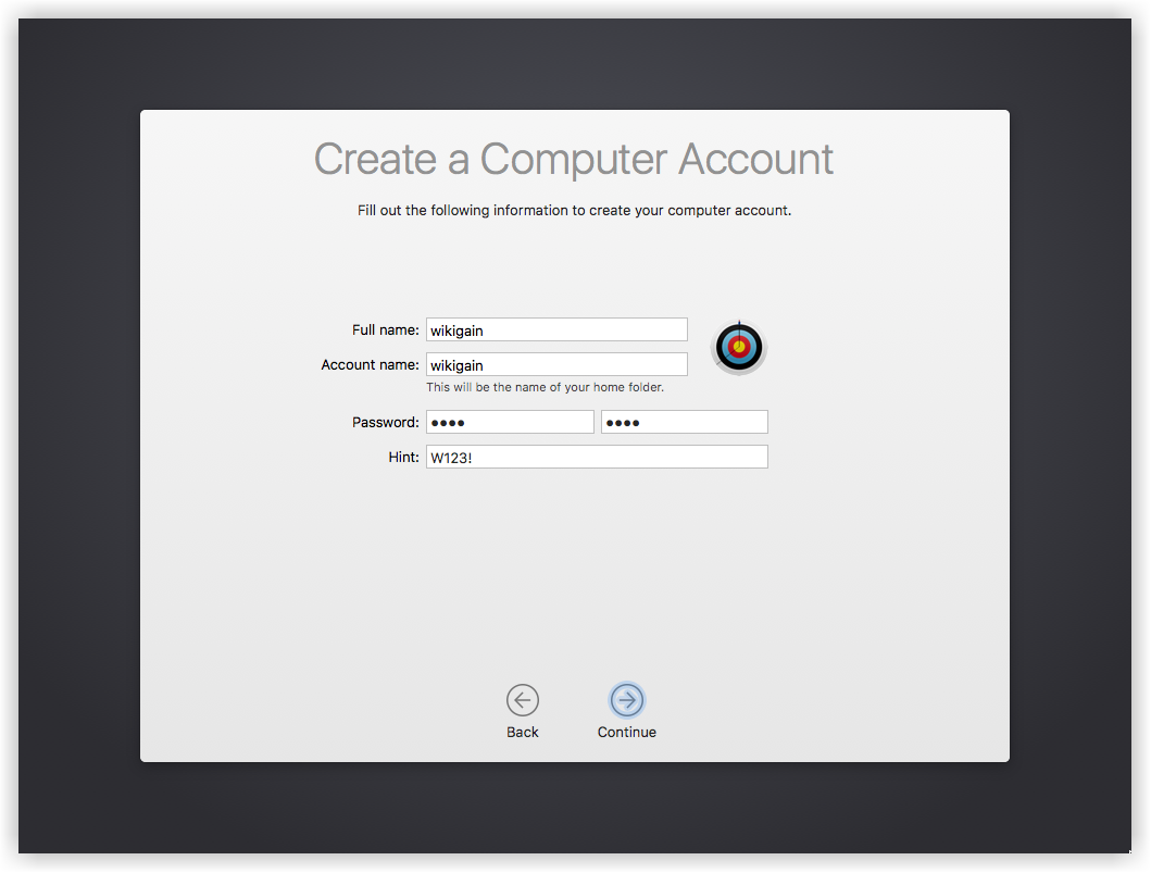 Create macOS Sierra Computer Account