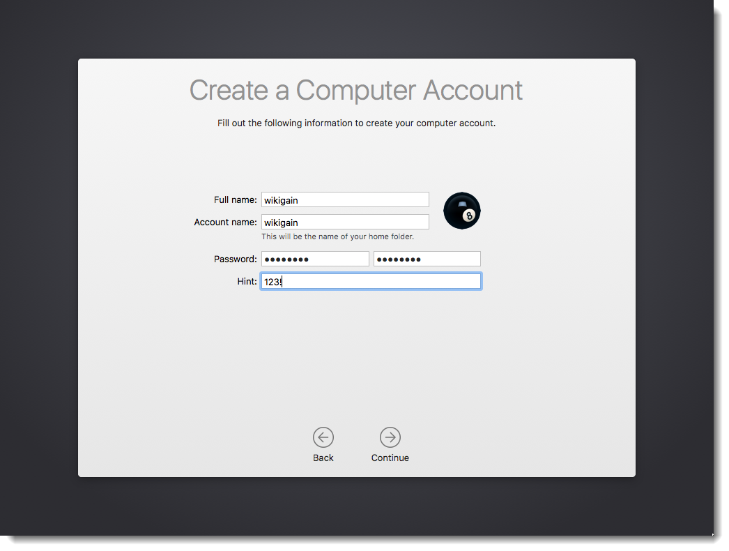 Create macOS Sierra Computer Account