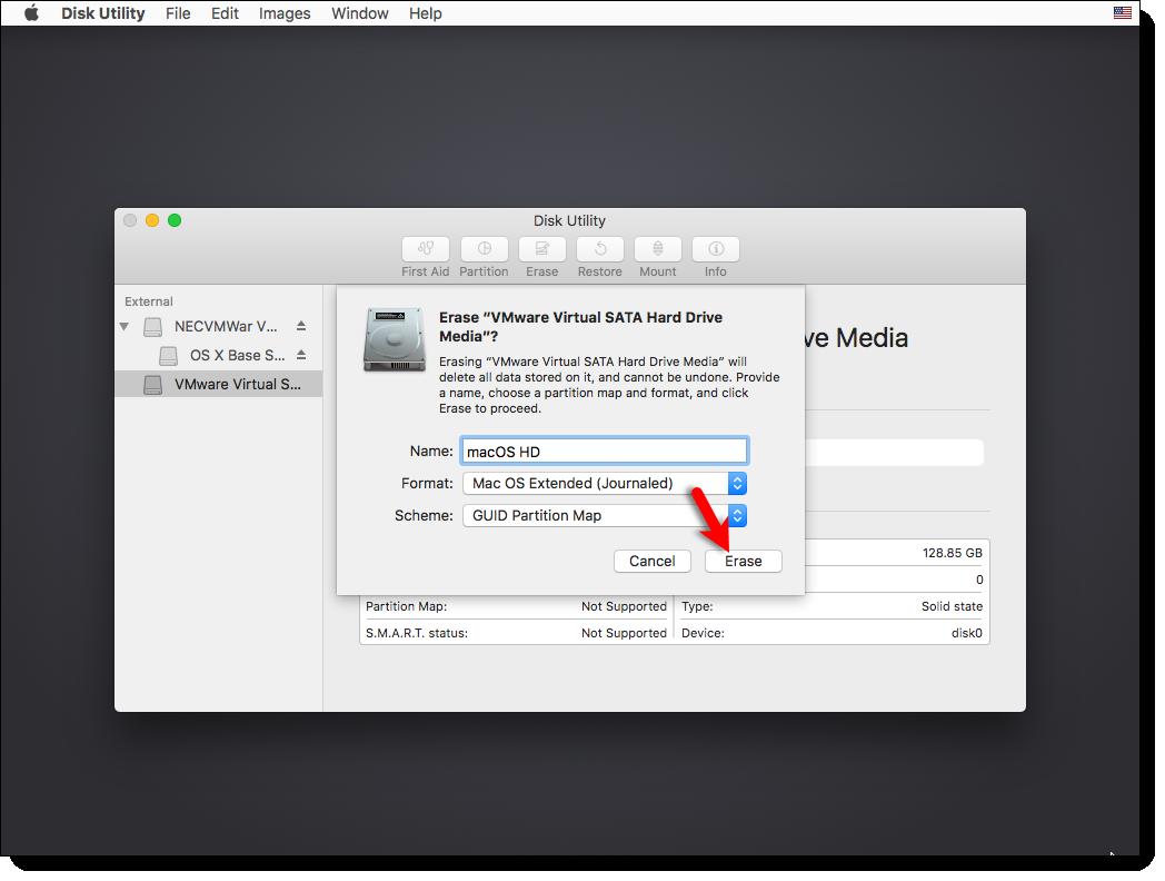 Format the VMware Virtual SATA Hard Drive Media