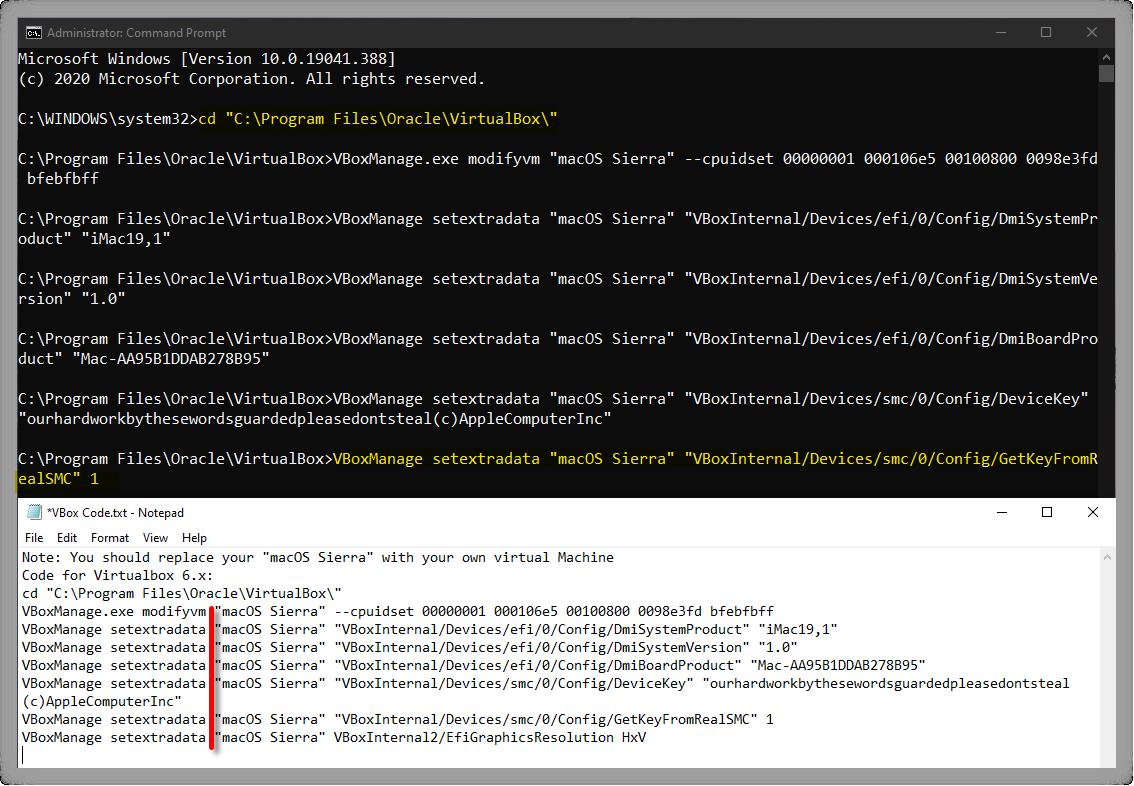 Execute macOS Sierra VirtualBox Code