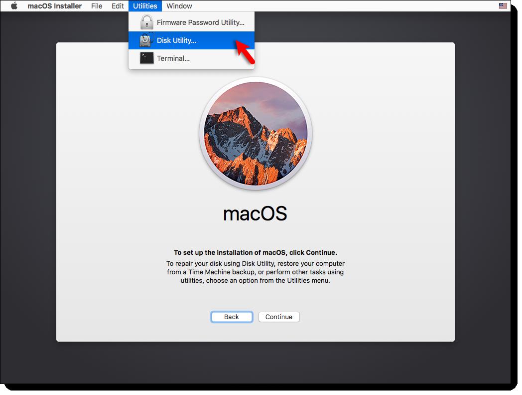 Go to Disk Utility macOS Sierrra