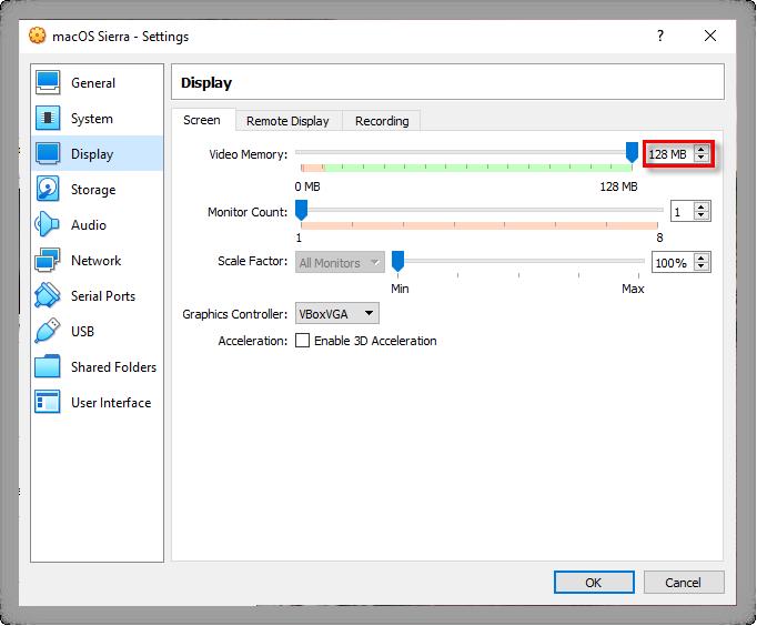 Increase macOS Sierra Video Memory