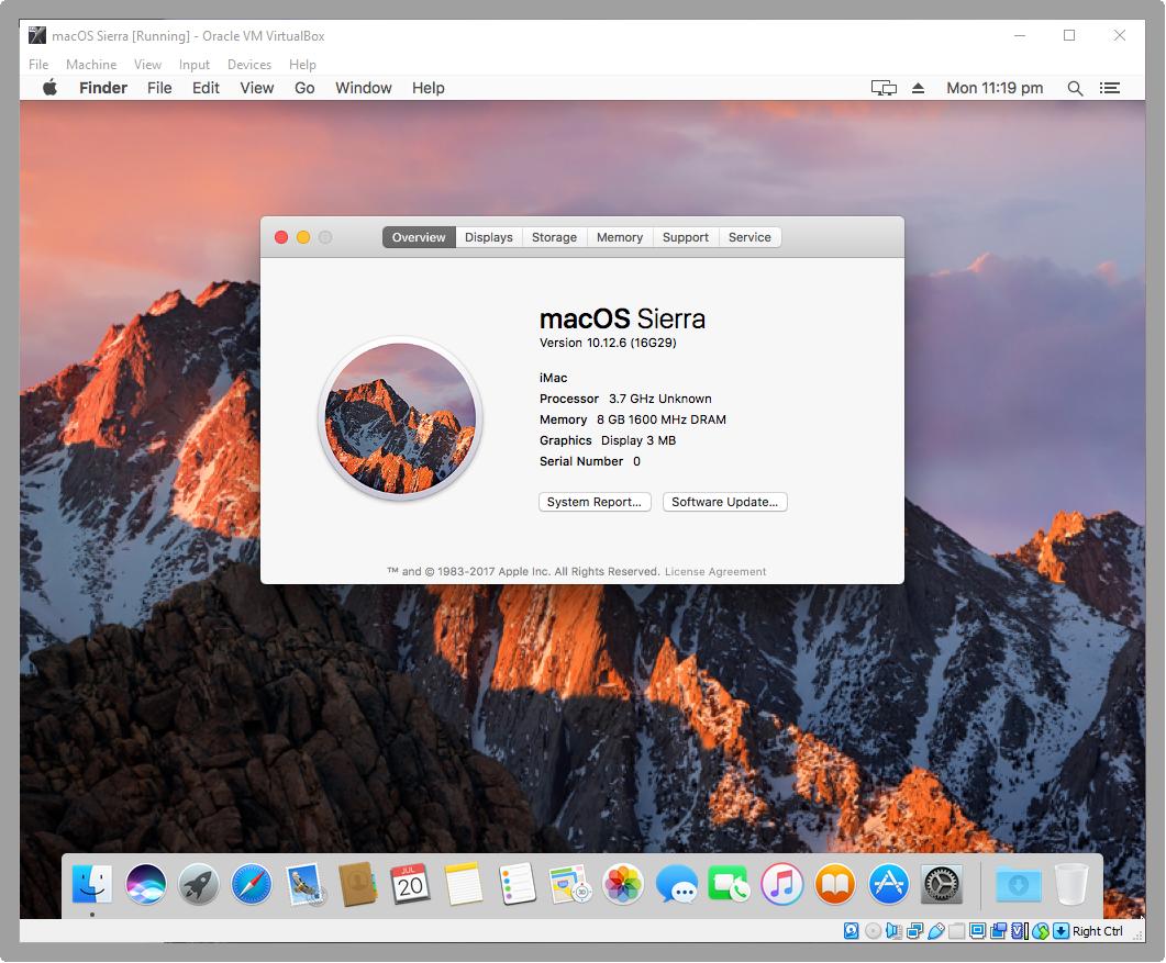 Installed macOS Sierra on VirtualBox