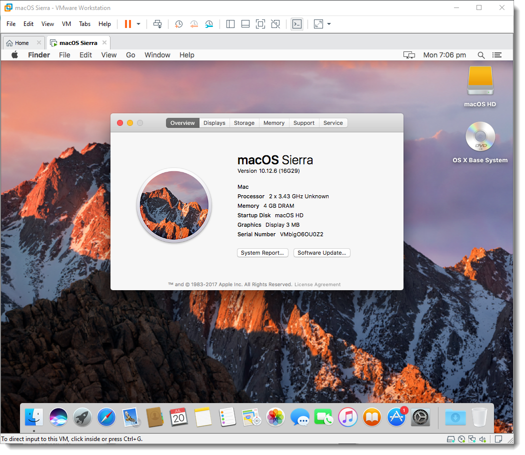 Successfully Installed macOS Sierra 10.12.6 on VMware