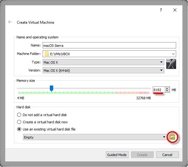 Use An Existing macOS Sierra Virtual Hard Disk
