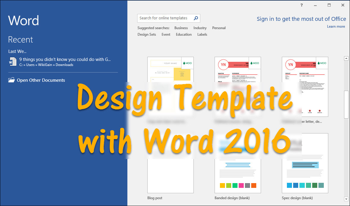 How to design Template with Word 2016