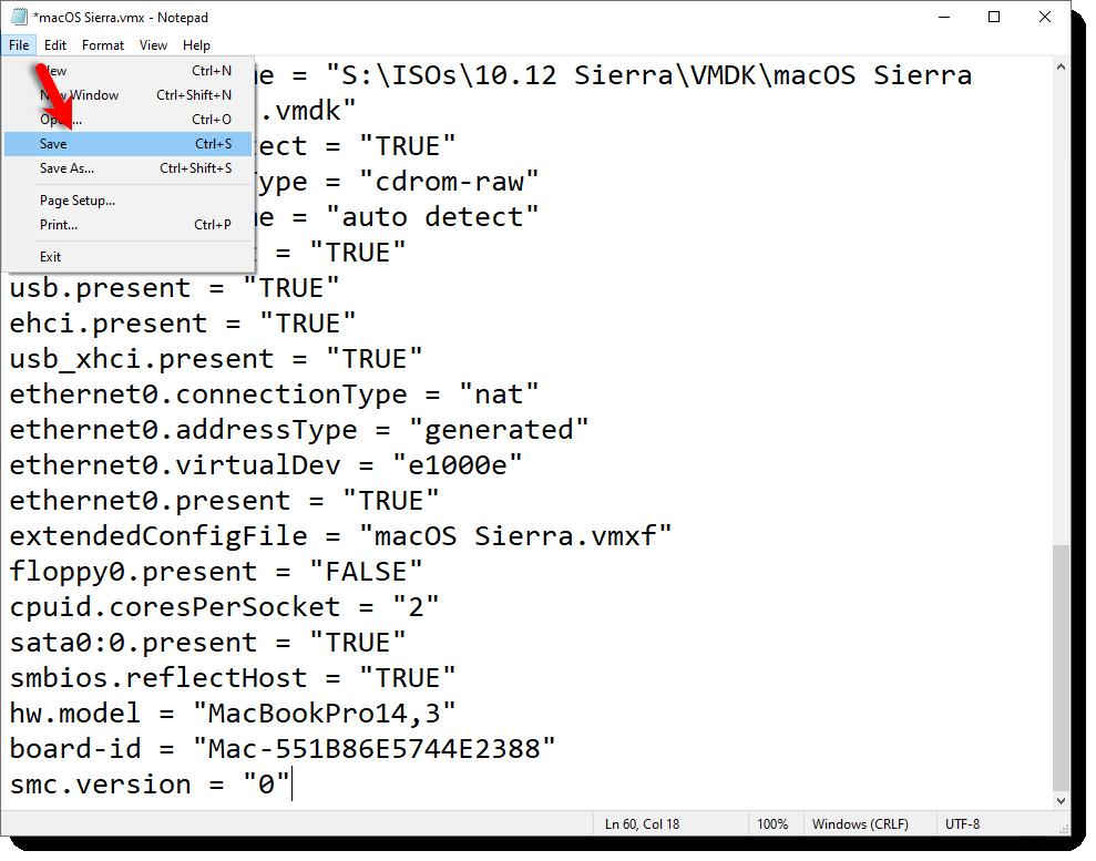 Save macOS Sierra VMX File