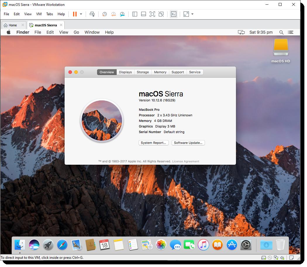 Successfully Installed macOS Sierra on VMware using VMDK