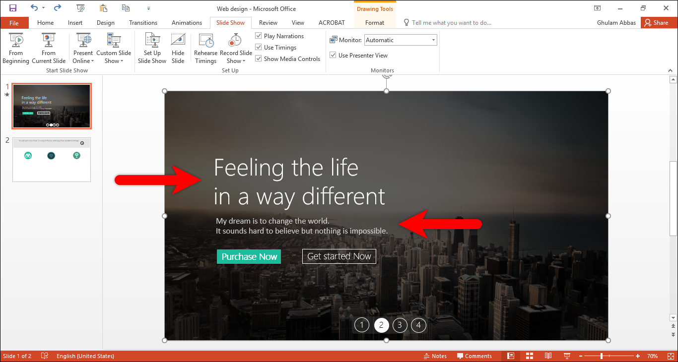 How to Design a Custom Slide on PowerPoint 2016?