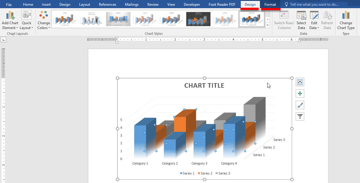 Using Charts in Microsoft Office Word 2016