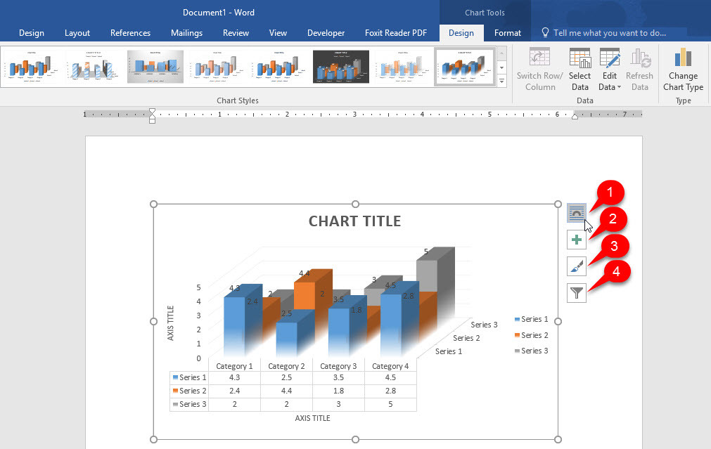 Using charts in Microsoft Office Word