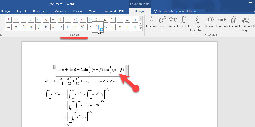 How to Use Mathematical Equations in Ms word 2016