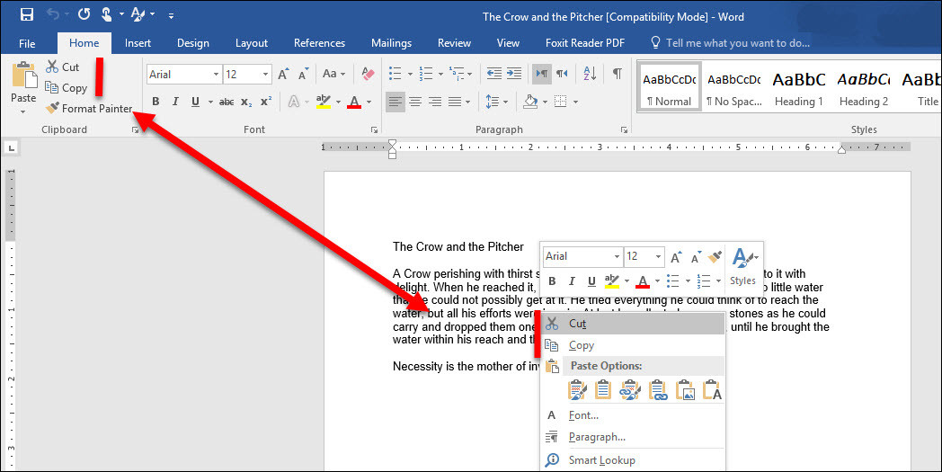 How to Use Clipboard Group in Microsoft Word 2016