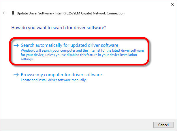 install driver for your network adapter windows 10