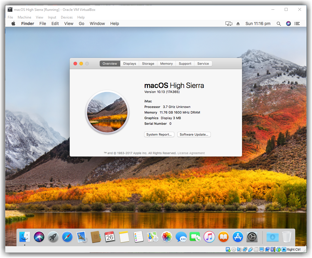 Installed macOS High Sierra on VirtualBox