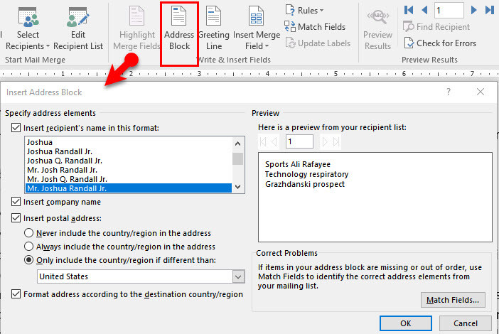 Create mail merge-send envelope-Microsoft word 2016