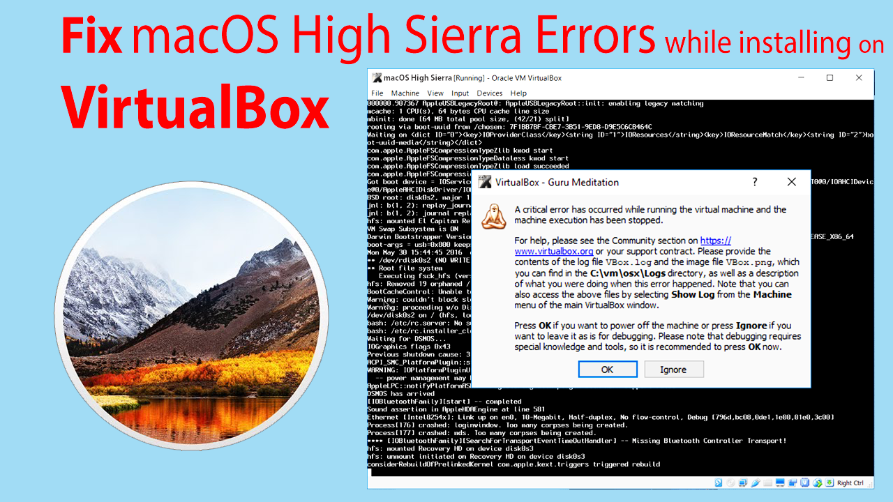 Fix macOS High Sierra Error on VirtualBox During Installation Process