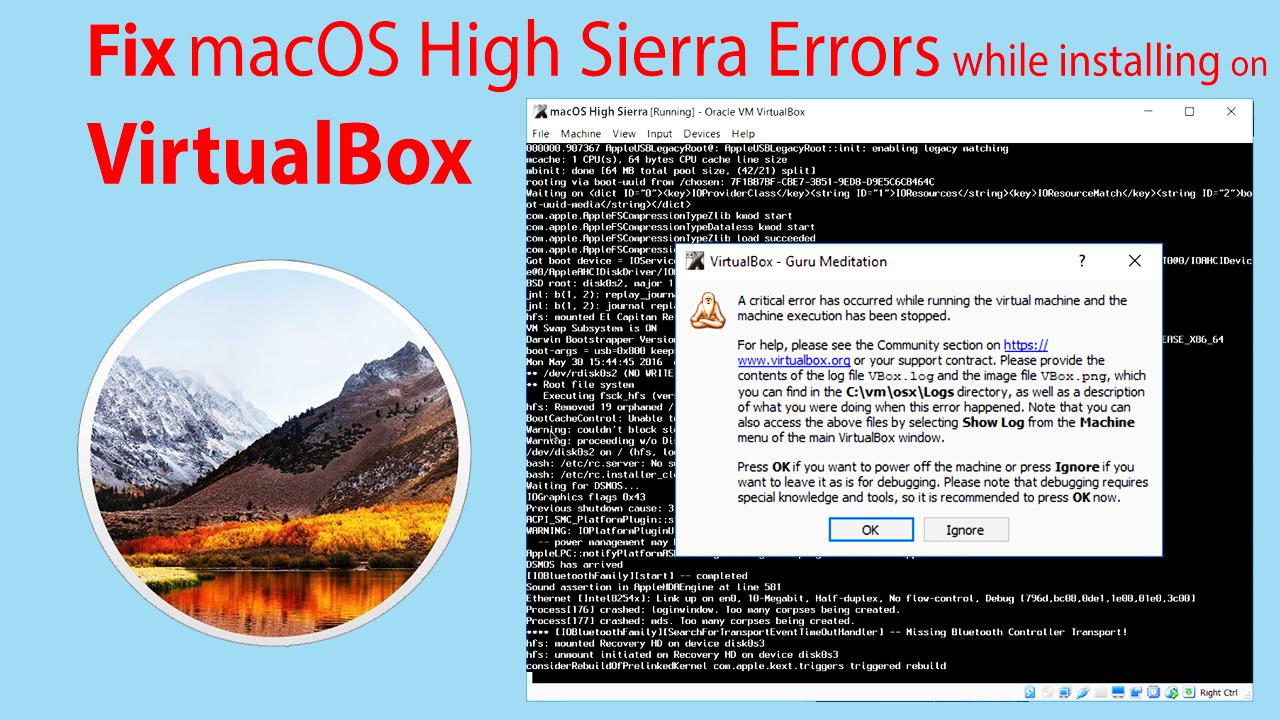 Fix macOS High Sierra Error on VirtualBox During Installation Process