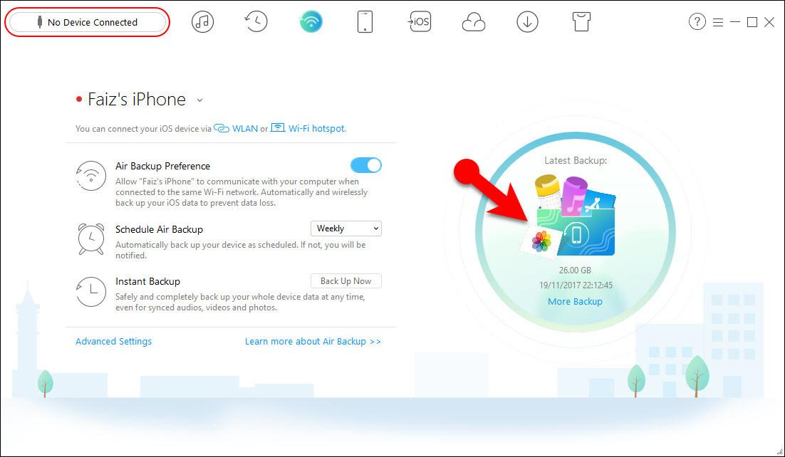 How to Backup iOS Device Wirelessly via AnyTrans