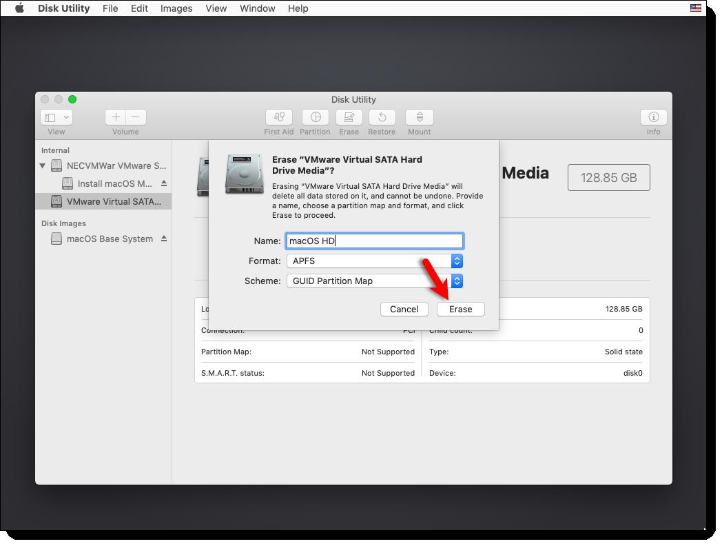 Format the VMware Virtual SATA Hard Drive Media Mojave