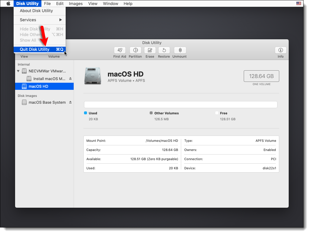 Quit Disk Utility Mojave