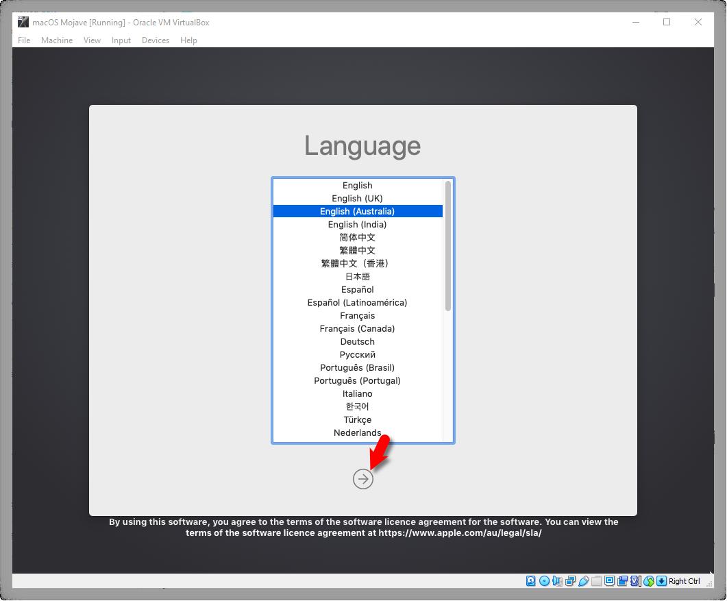 Select macOS Mojave Language