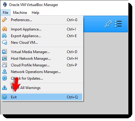 Exit VirtualBox