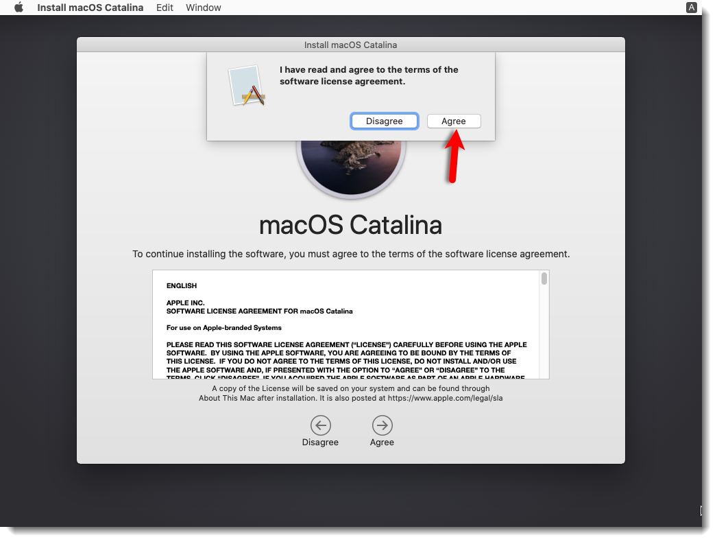 Agree to the macOS Catalina License agreement