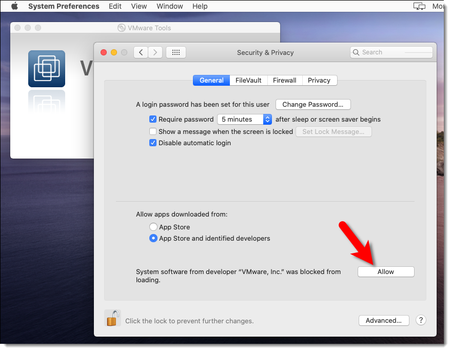 Allow VMware Tools through macOS Security Settings