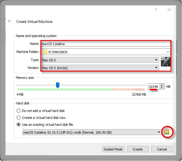 Install macOS Catalina on VirtualBox on Windows -VMDK