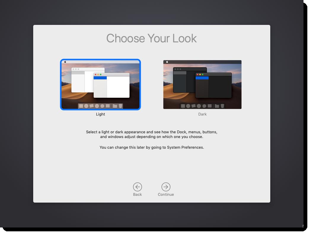 Choose macOS Mojave Look