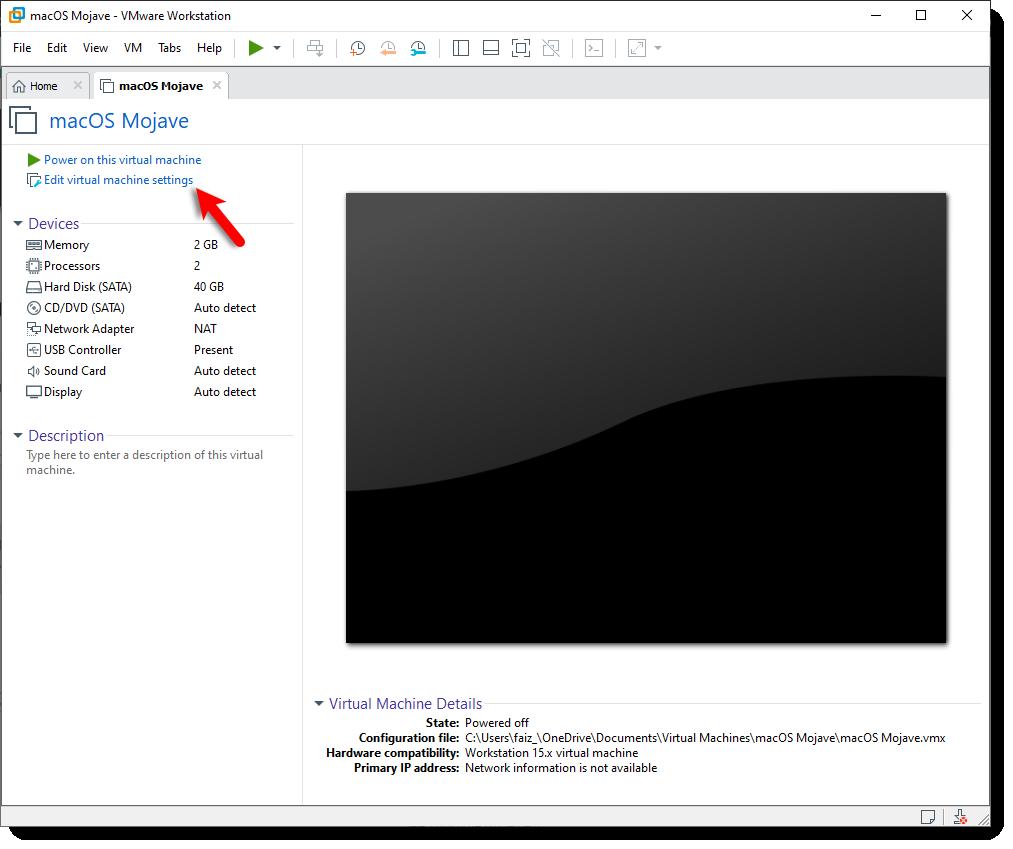 Edit macOS Mojave VM Settings