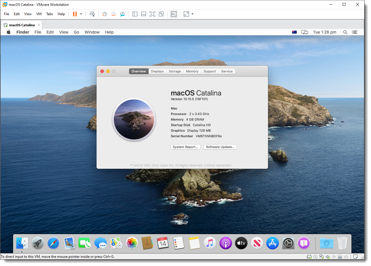 Install macOS Catalina on VMware using VMDK
