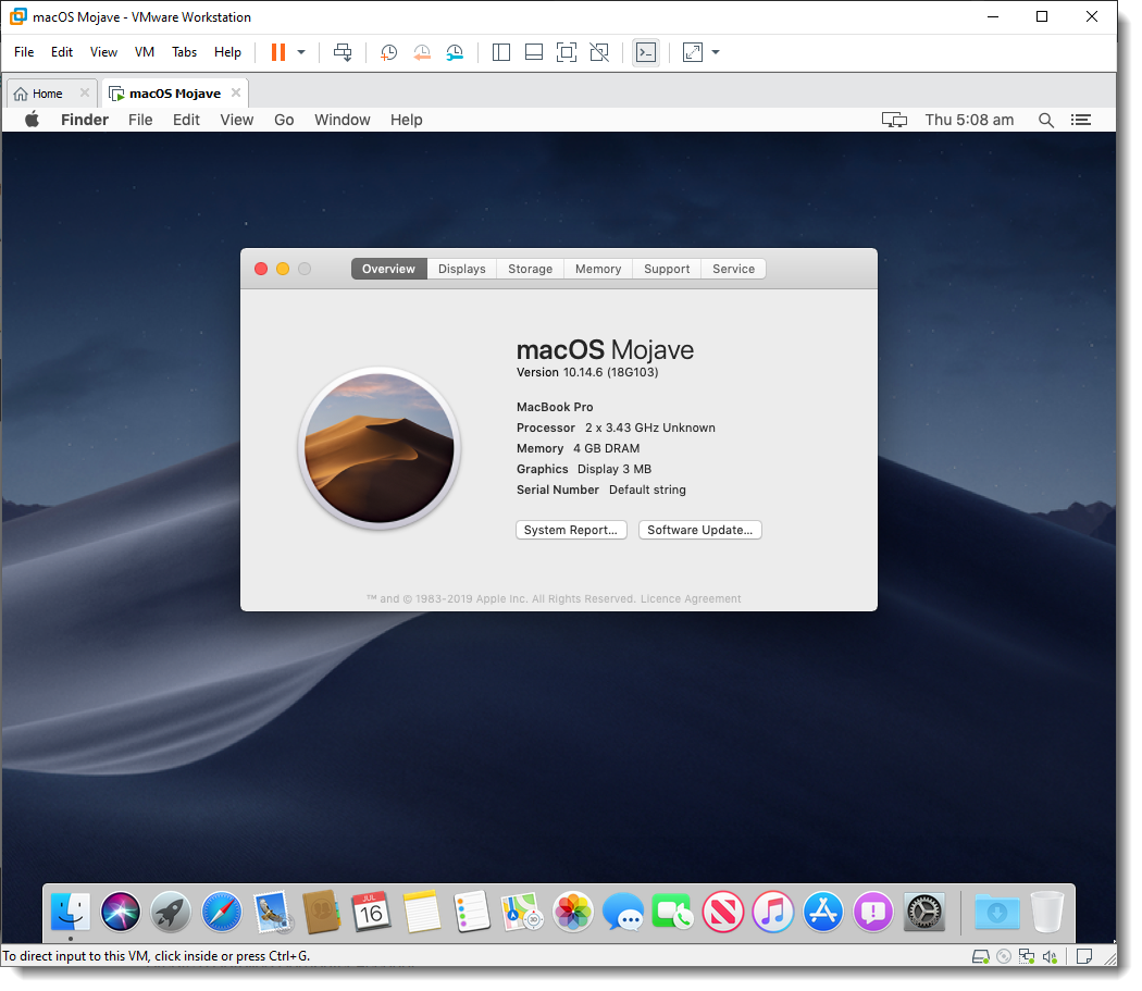Successfully Installed macOS Mojave on VMware