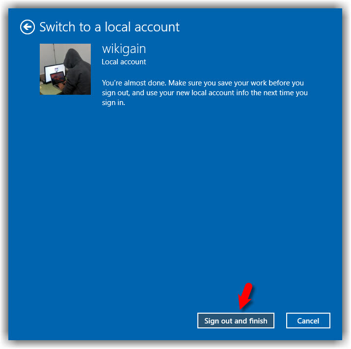 Sign Out from Microsoft Account