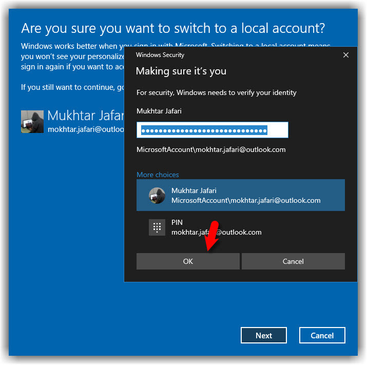 Switch to a Local Account