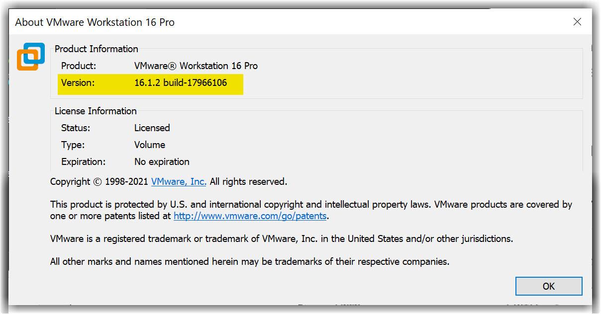 VMware 16.1.X Version