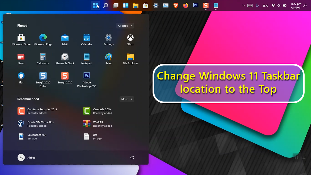 How to Change Windows 11 Taskbar location to the Top