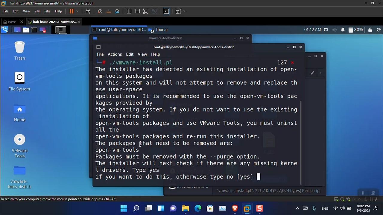 Install VMware Tools in Kali Linux in Windows 11